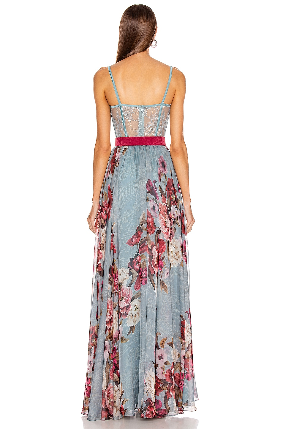 Image 4 of PatBo Peony Print Bustier Maxi Dress With Belt in Soft Blue