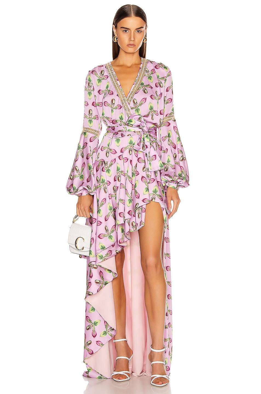 Image 1 of PatBO Jute Trim Maxi Wrap Dress in Bright Lilac