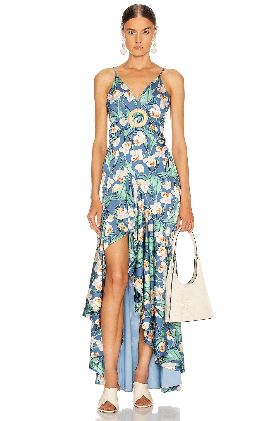 Image 1 of PatBo Floral Belted Maxi Dress in Blue