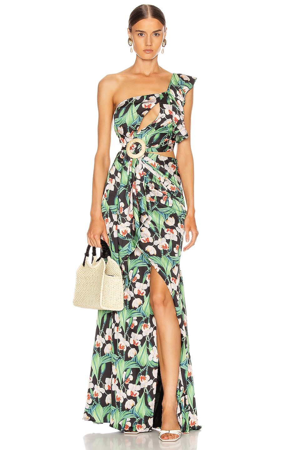 Image 1 of PatBo Floral Asymmetric Maxi Dress in Black