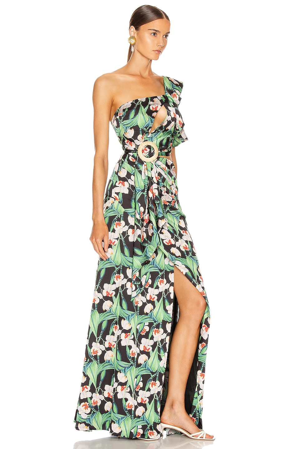 Image 2 of PatBo Floral Asymmetric Maxi Dress in Black