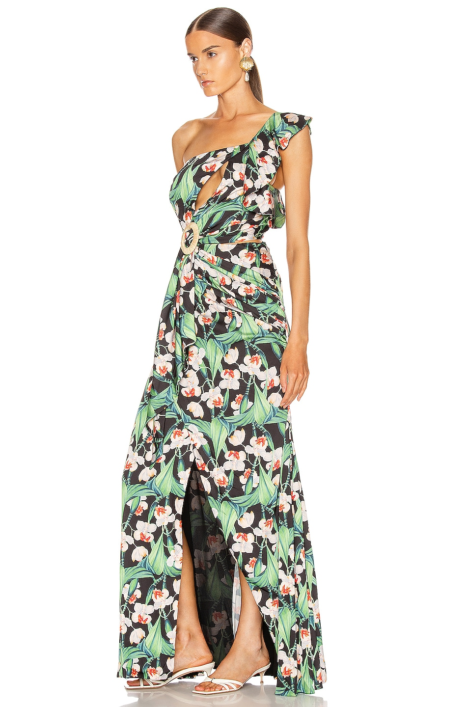 Image 3 of PatBo Floral Asymmetric Maxi Dress in Black