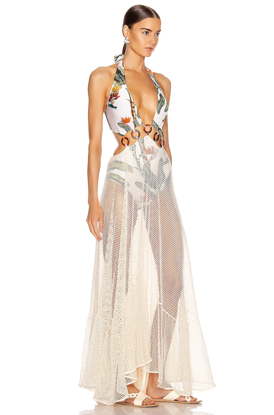 Image 2 of PatBO Tropical Print Mesh Beach Dress in Off-White