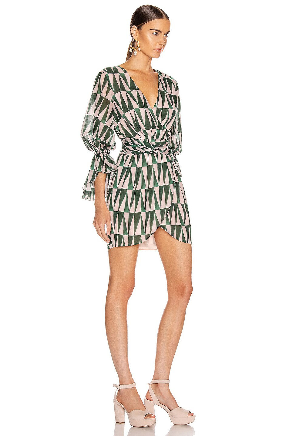 Image 2 of PatBO Geo Print Cotton Mini Dress in Green & Pink