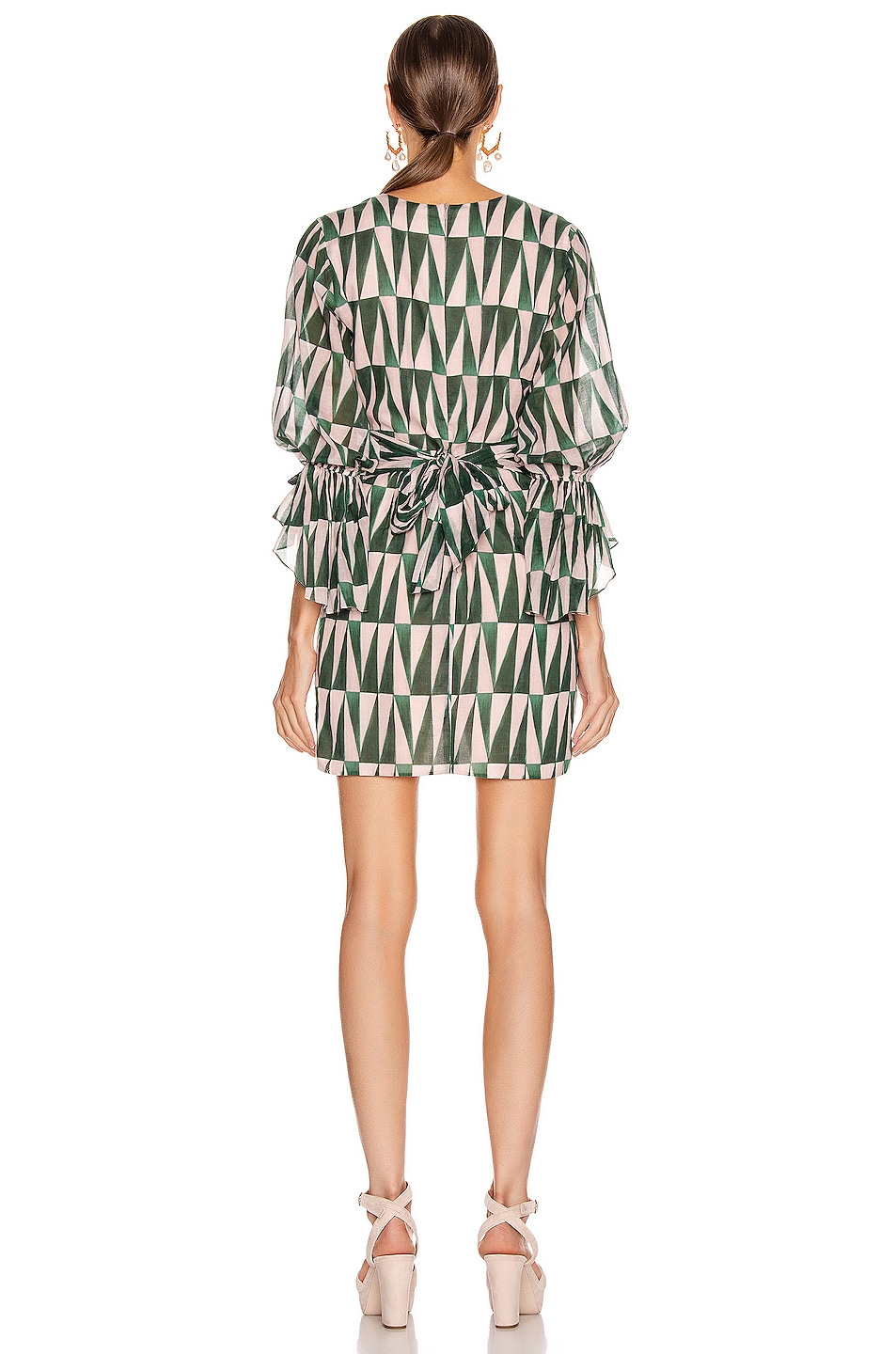 Image 3 of PatBO Geo Print Cotton Mini Dress in Green & Pink