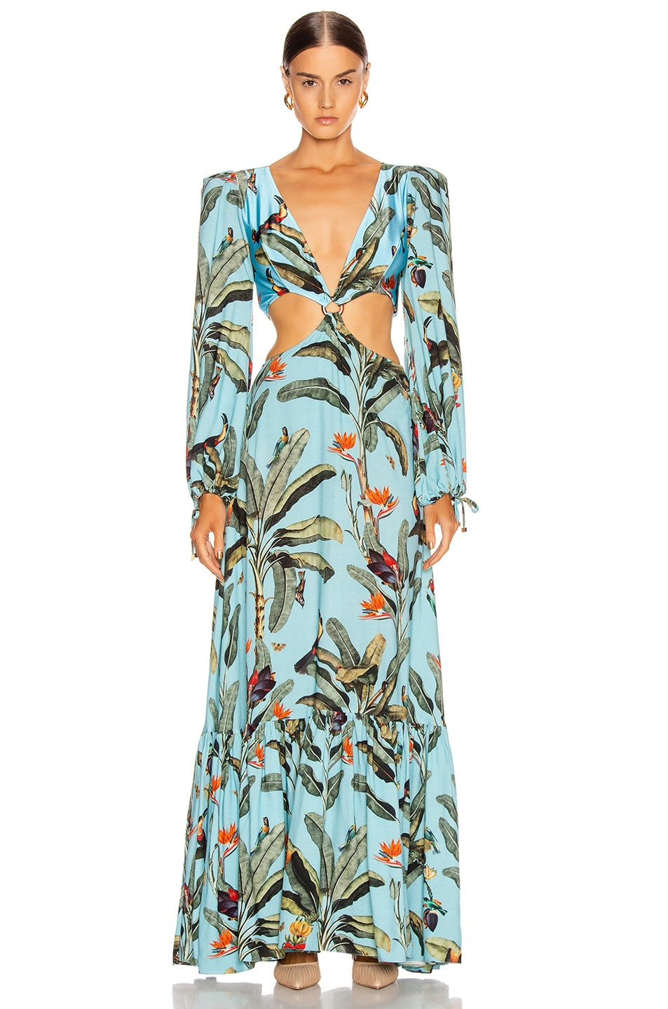 Image 1 of PatBO Tropical Print Cutout Maxi Dress in Cerulean
