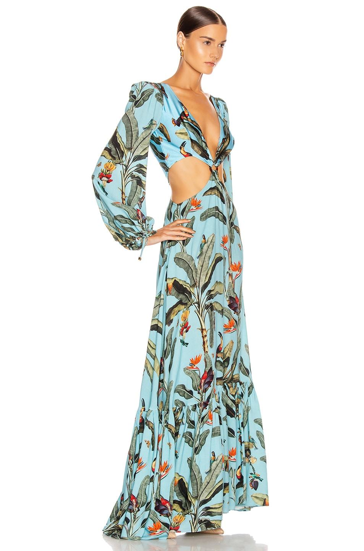 Image 2 of PatBO Tropical Print Cutout Maxi Dress in Cerulean