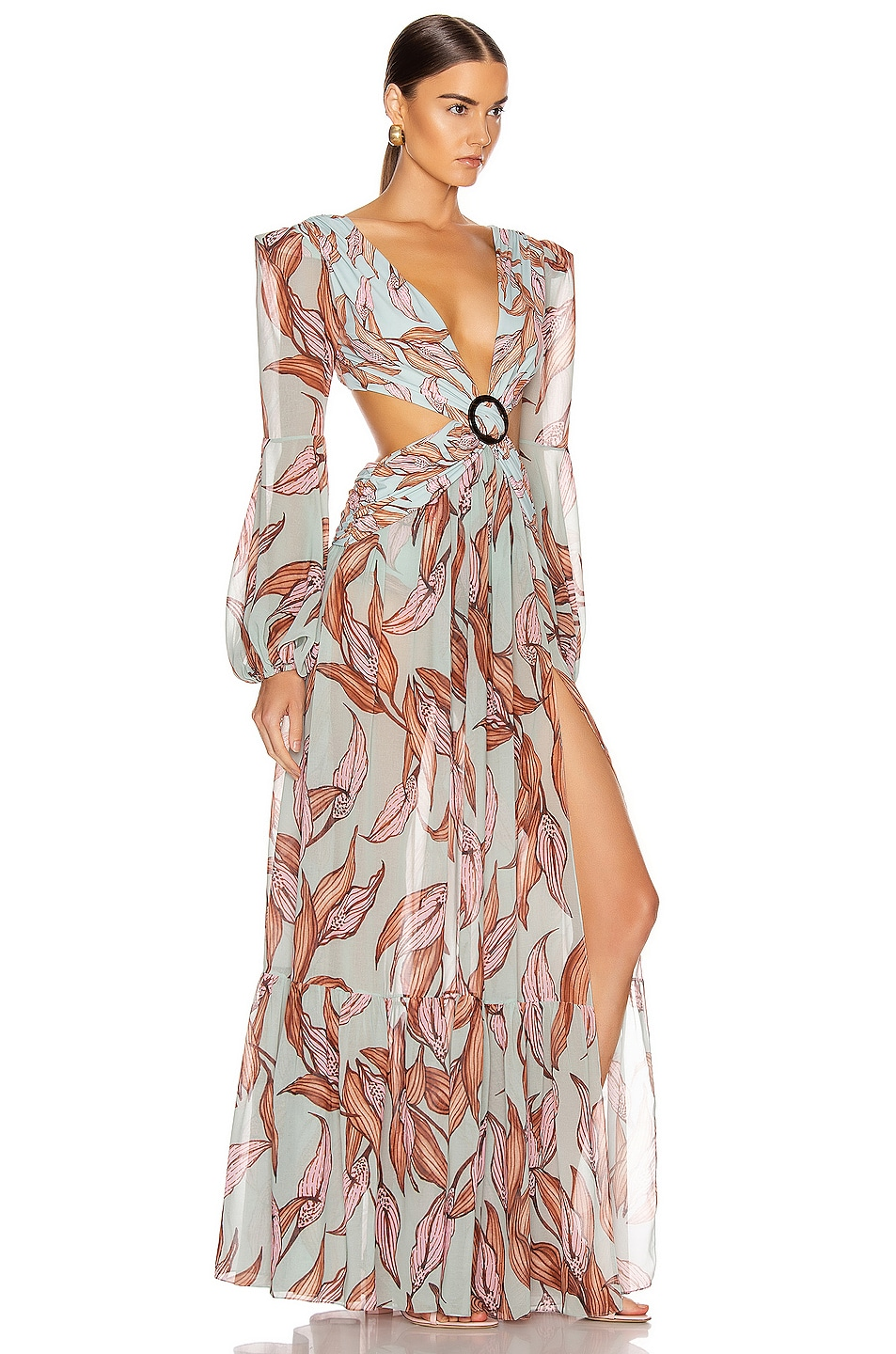 Image 2 of PatBO Printed Long Sleeve Cutout Dress in Peace Lily