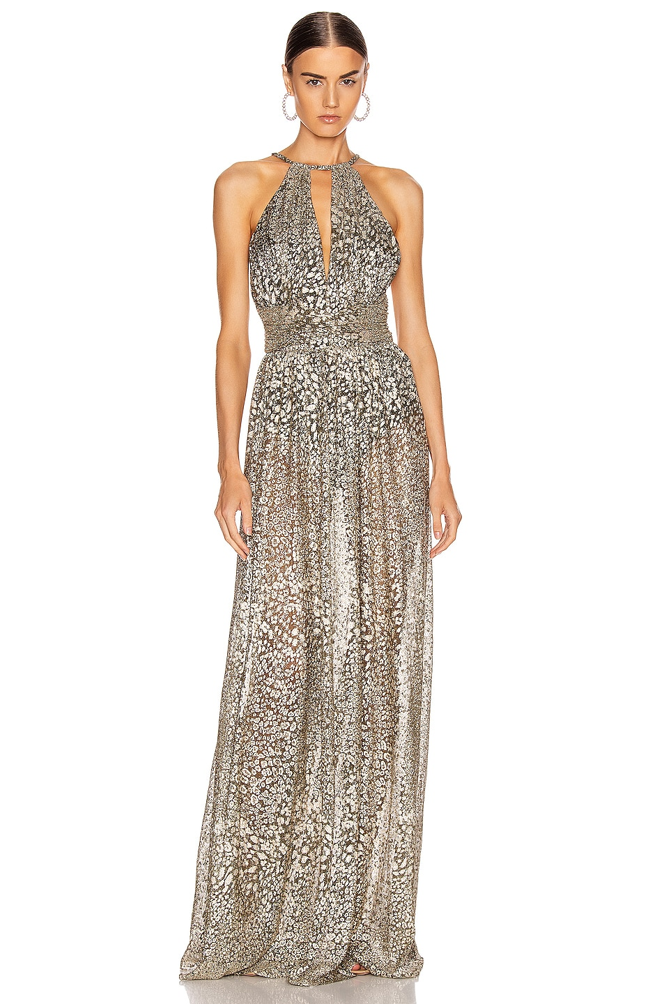 Image 1 of PatBO Metallic Leopard Keyhole Maxi Dress in Gold
