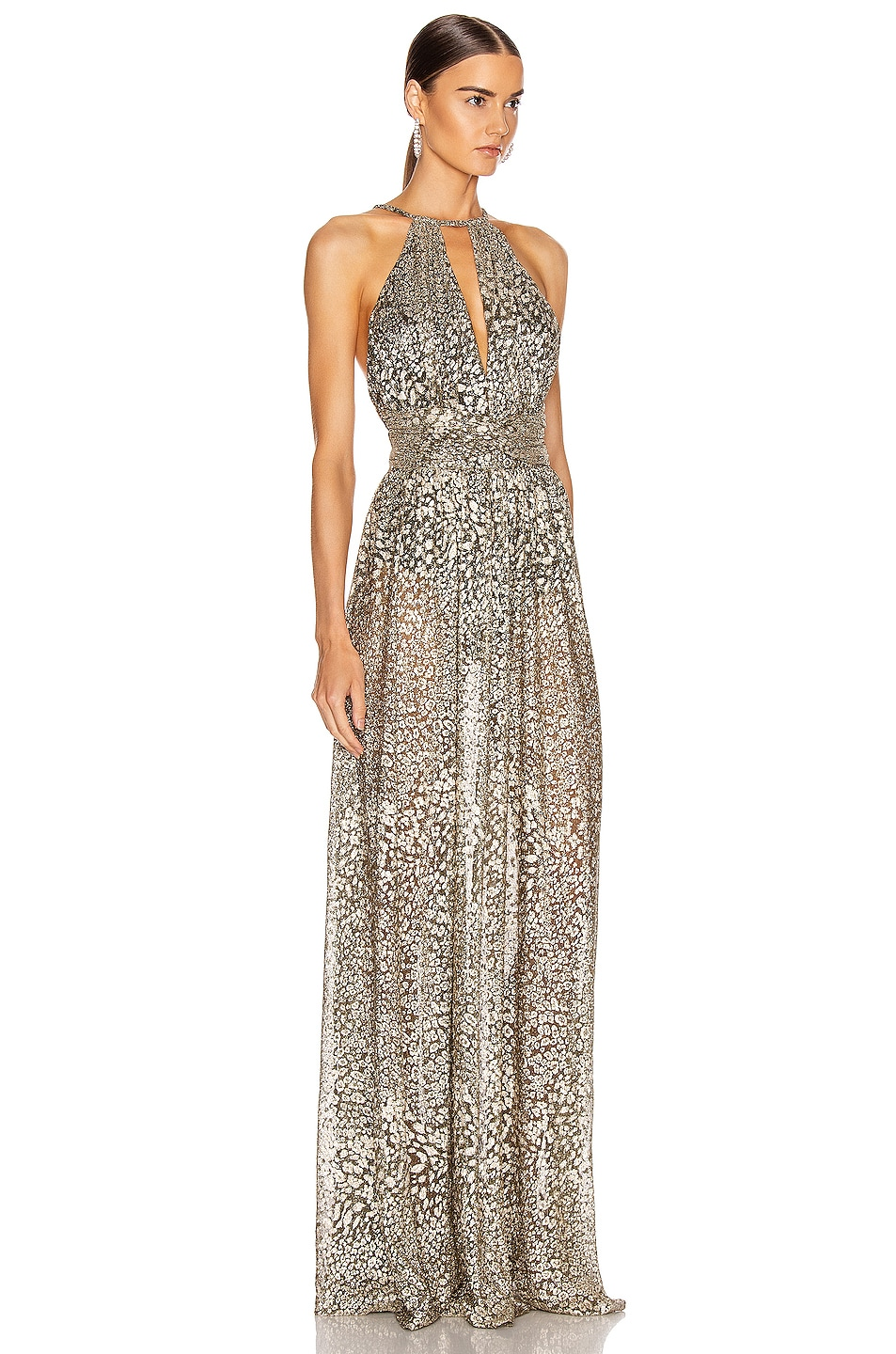 Image 2 of PatBO Metallic Leopard Keyhole Maxi Dress in Gold
