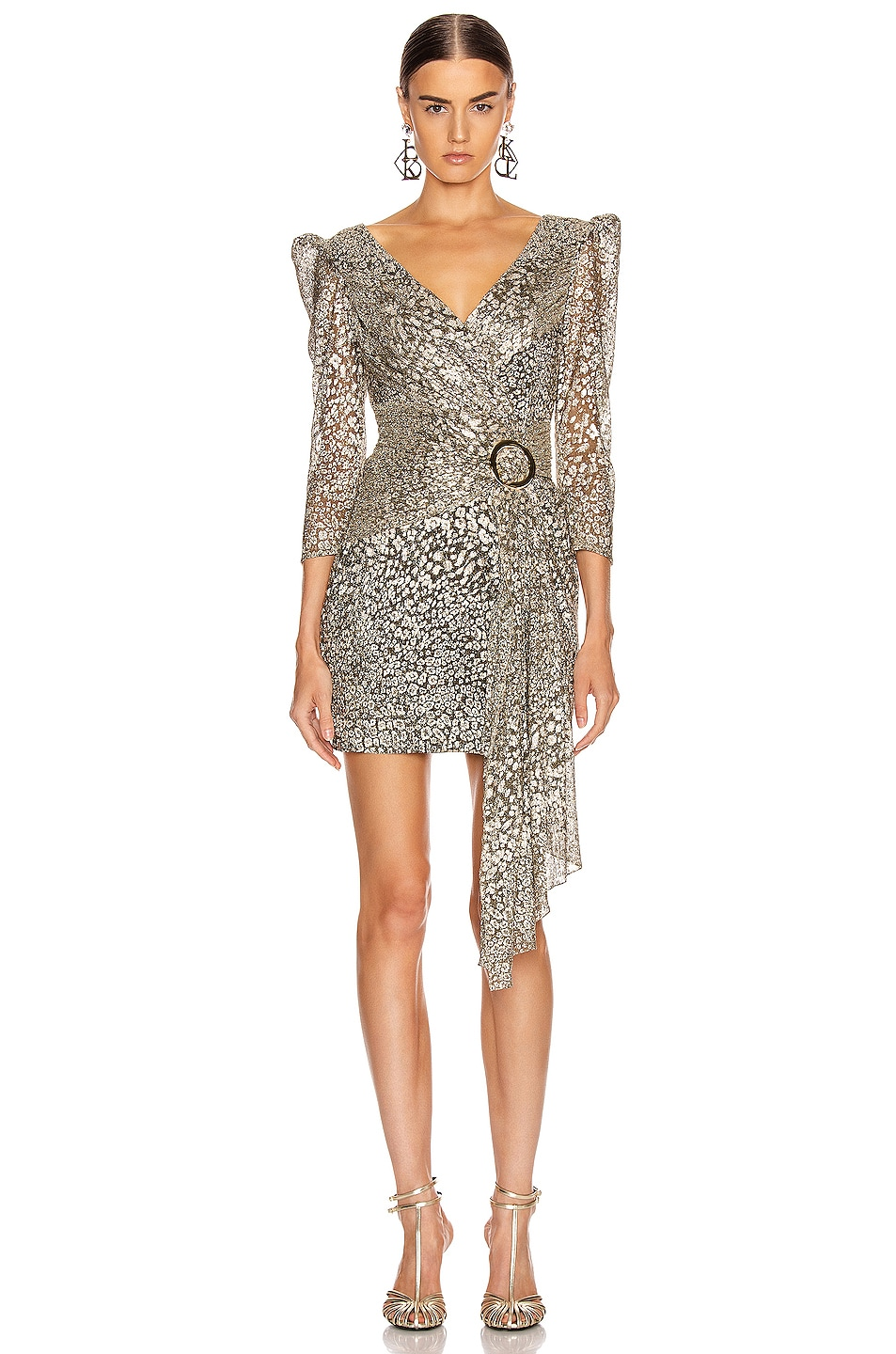 Image 1 of PatBO Metallic Leopard Drape Mini Dress in Gold