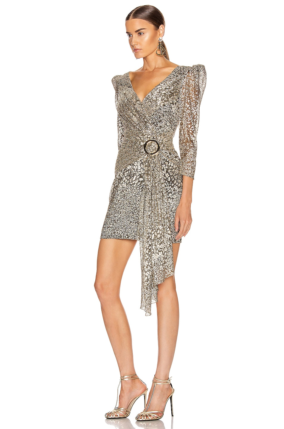 Image 3 of PatBO Metallic Leopard Drape Mini Dress in Gold