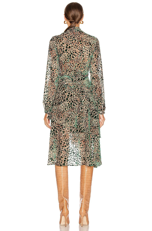 Image 3 of PatBO Burnout Velvet Mini Wrap Dress in Green Leopard