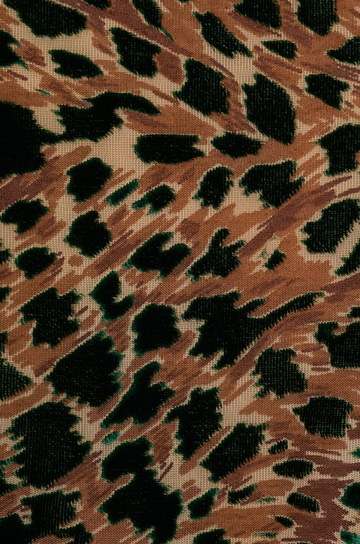 Image 4 of PatBO Burnout Velvet Mini Wrap Dress in Green Leopard
