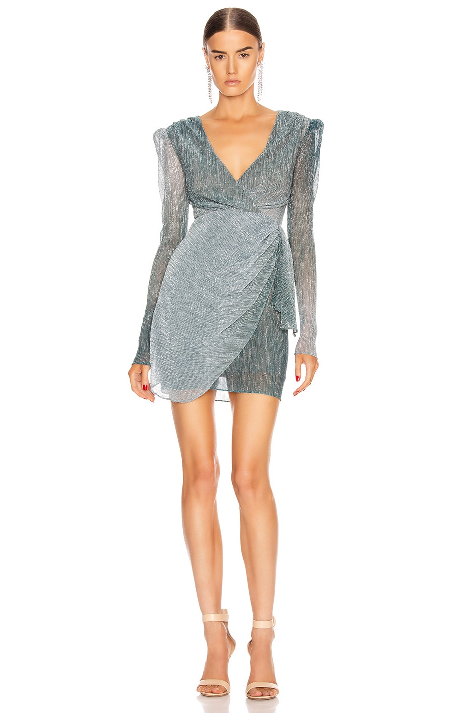 Image 1 of PatBO Ombre Lurex Faux Wrap Mini Dress in Cyan