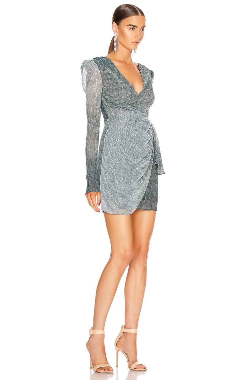 Image 2 of PatBO Ombre Lurex Faux Wrap Mini Dress in Cyan