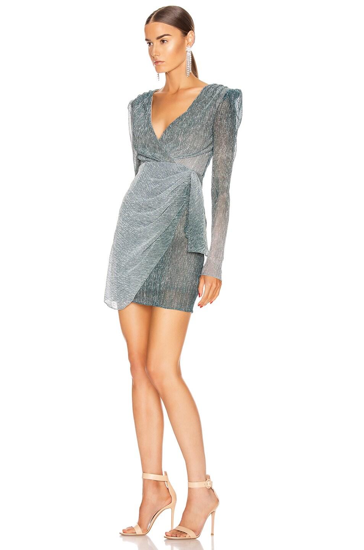 Image 3 of PatBO Ombre Lurex Faux Wrap Mini Dress in Cyan