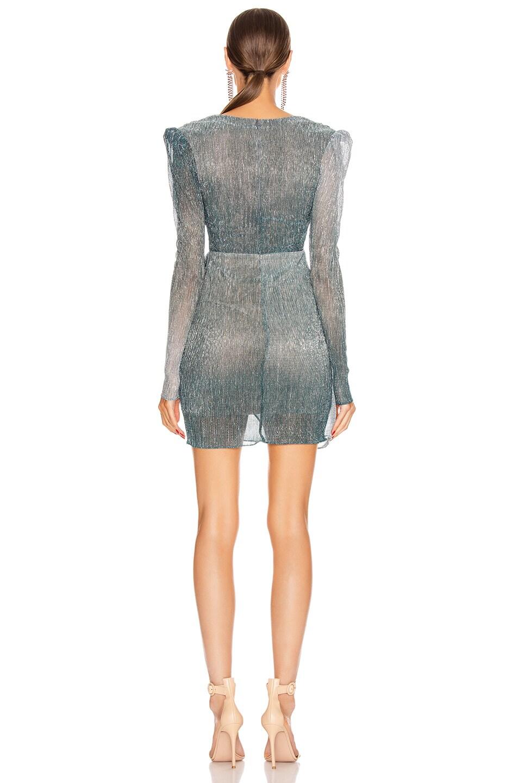 Image 4 of PatBO Ombre Lurex Faux Wrap Mini Dress in Cyan