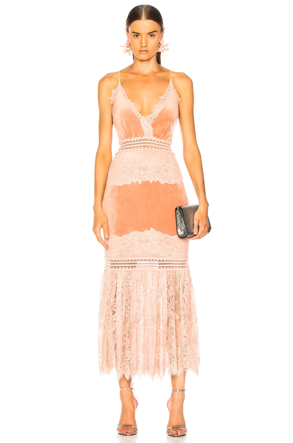 Image 1 of PatBo Lace & Velvet Dress in Dusty Rose