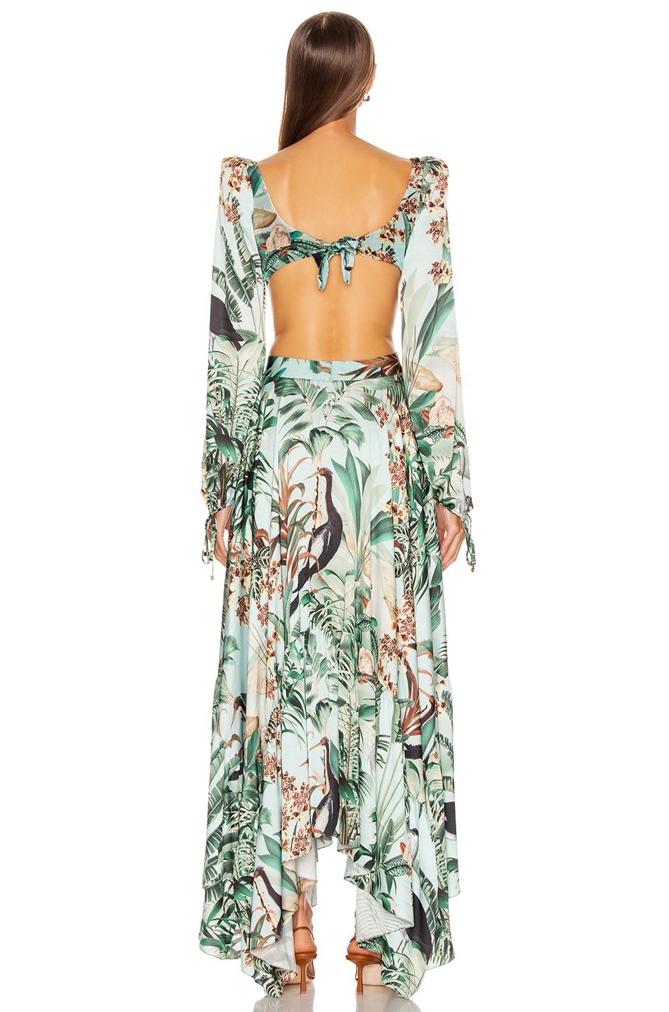 Image 4 of PatBO Eden Print Cut Out Maxi Dress in Verde