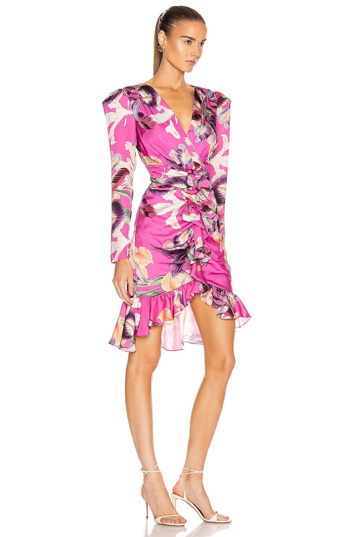Image 2 of PatBO Grace Print Knee Length Dress in Fuchsia
