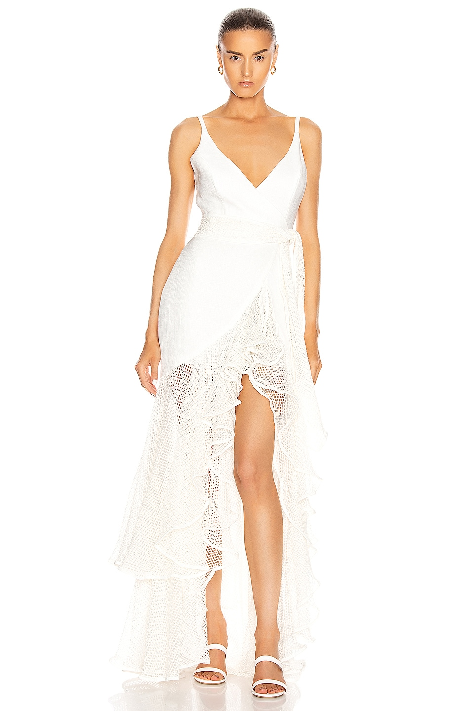 Image 1 of PatBO Mesh Trim Linen Maxi Dress in White