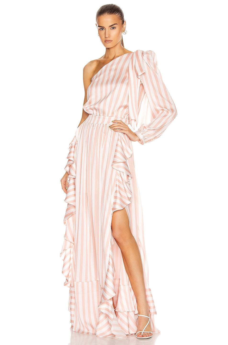 Image 1 of PatBO Cabana Stripe One Shoulder Maxi Dress in Pink & White