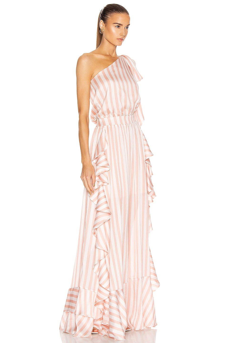 Image 2 of PatBO Cabana Stripe One Shoulder Maxi Dress in Pink & White