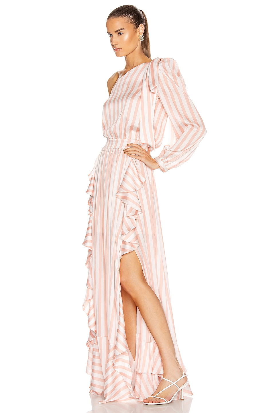 Image 3 of PatBO Cabana Stripe One Shoulder Maxi Dress in Pink & White