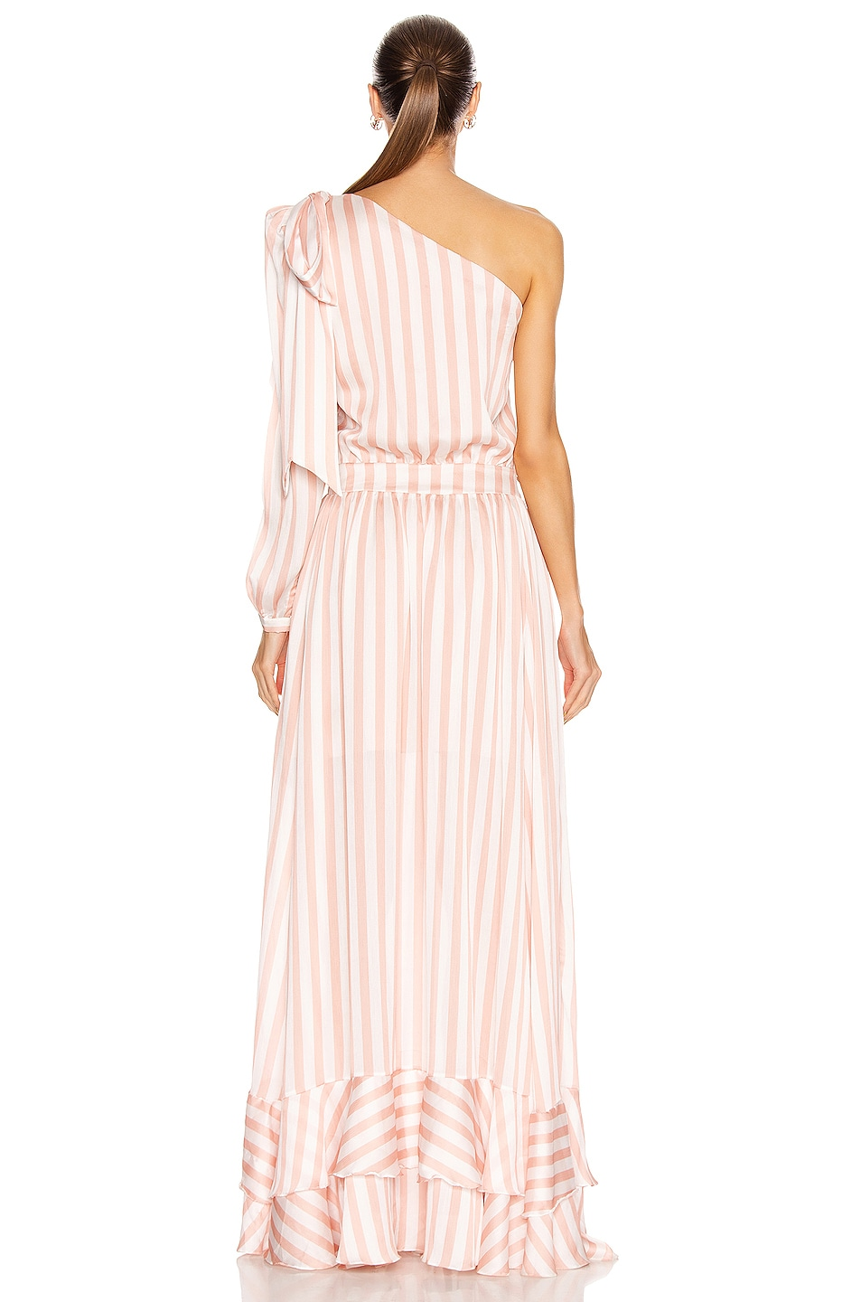 Image 4 of PatBO Cabana Stripe One Shoulder Maxi Dress in Pink & White