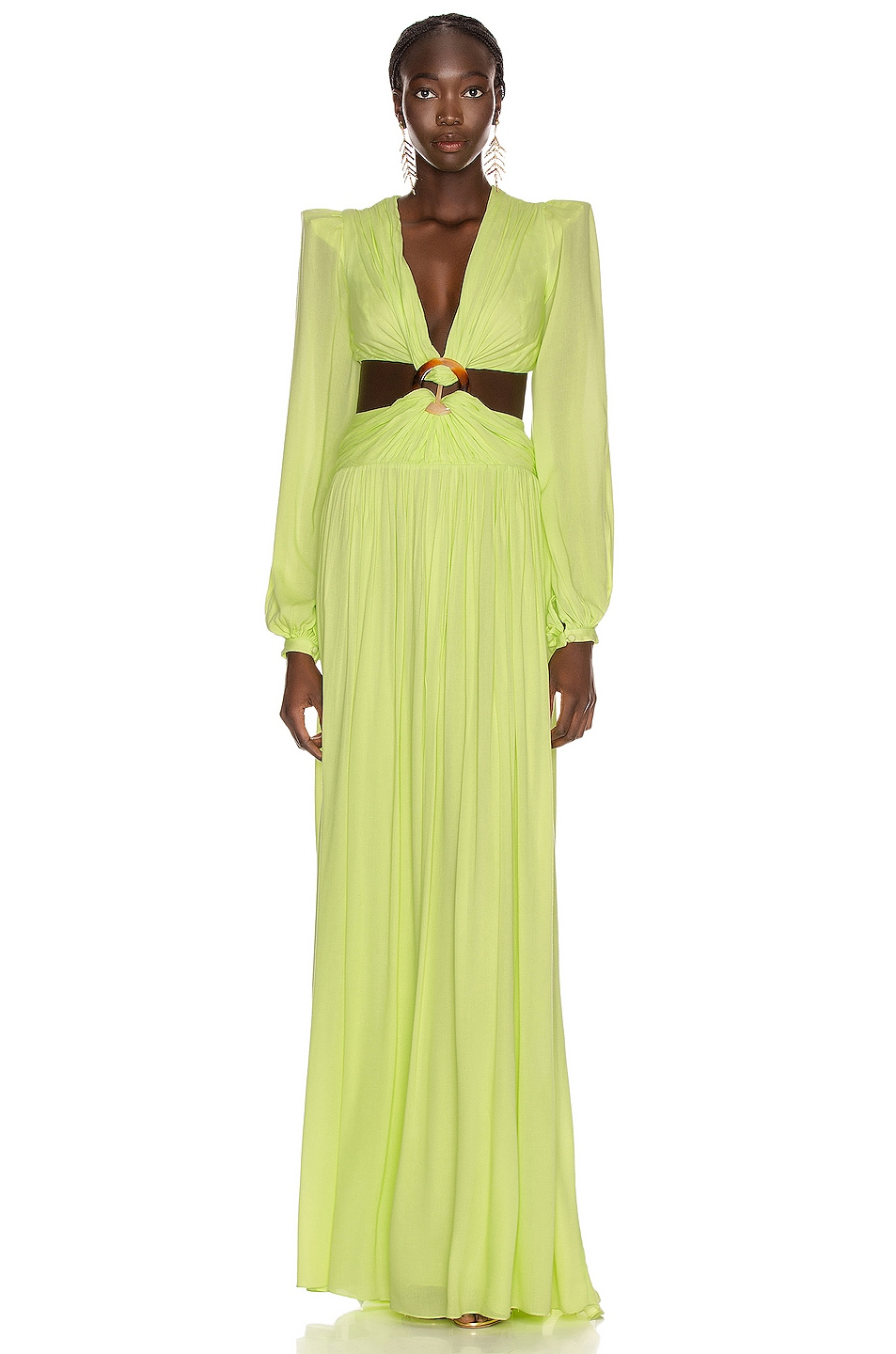 Image 1 of PatBO for FWRD Neon Cutout Gown in Lime