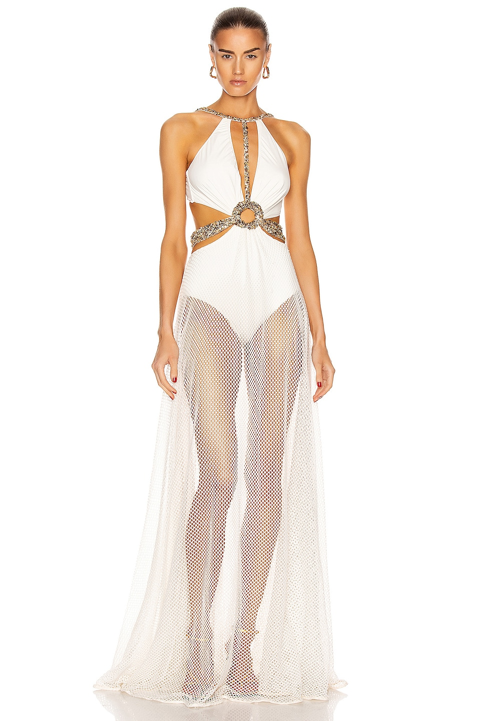 Image 1 of PatBO Beaded Cutout Beach Dress in White