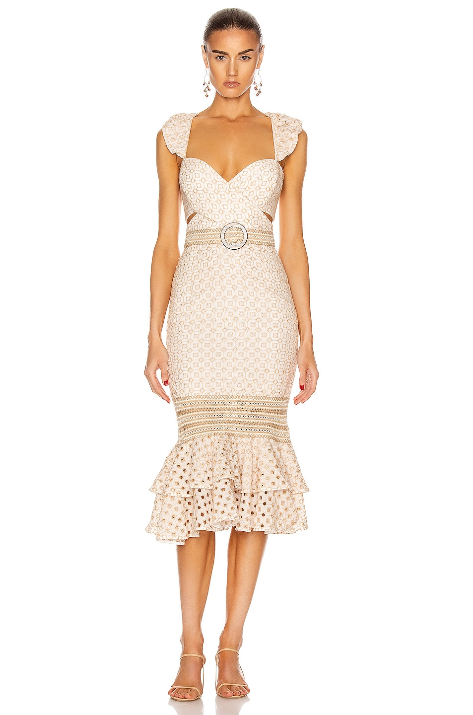 Image 1 of PatBO Eyelet Belted Midi Dress in Sand