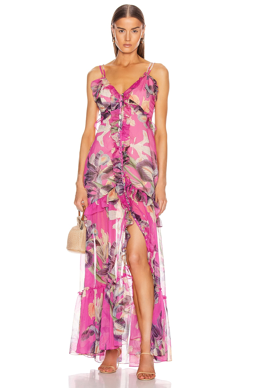 Image 1 of PatBO Grace Convertible Top Dress in Fuchsia