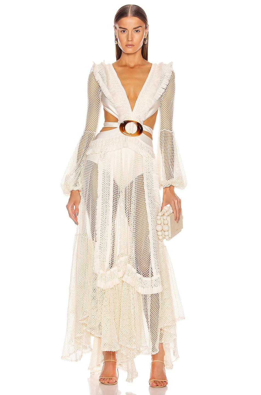 Image 1 of PatBO Long Sleeve Fringe Beach Dress in Ivory