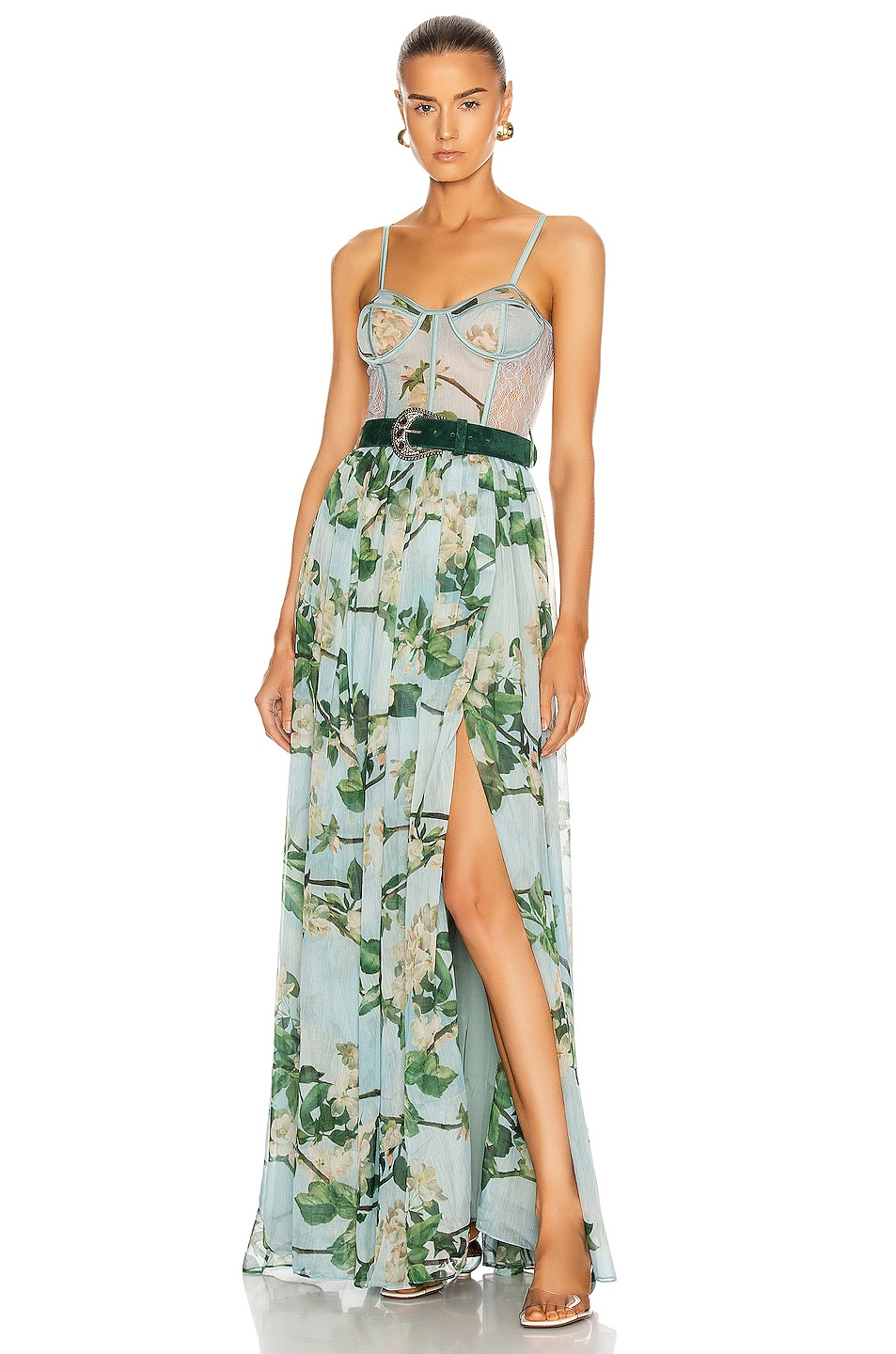 Image 1 of PatBO Floral Bustier Belted Maxi Dress in Sky