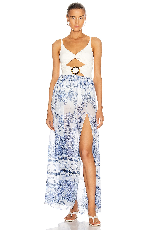 Image 1 of PatBO Amalfi Cut Out Beach Dress in Blue & White