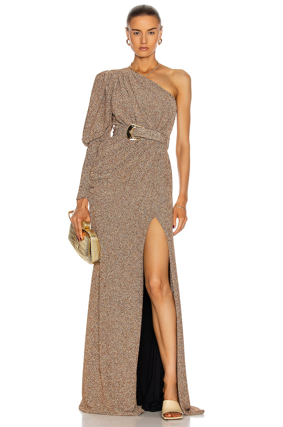 Image 1 of PatBO Lurex One Shoulder Maxi Dress in Gold