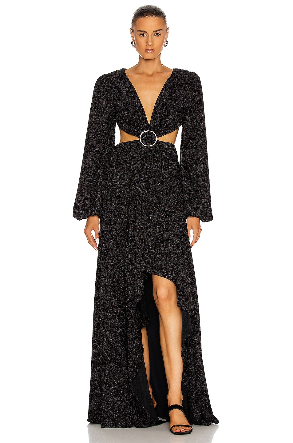 Image 1 of PatBO Lurex Cut-Out Gown in Black
