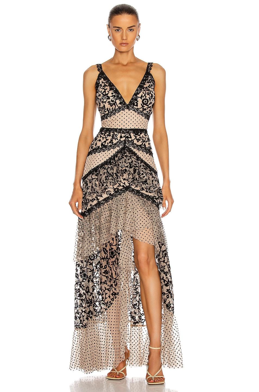 Image 1 of PatBO Burnout Velvet Maxi Dress in Black & Nude