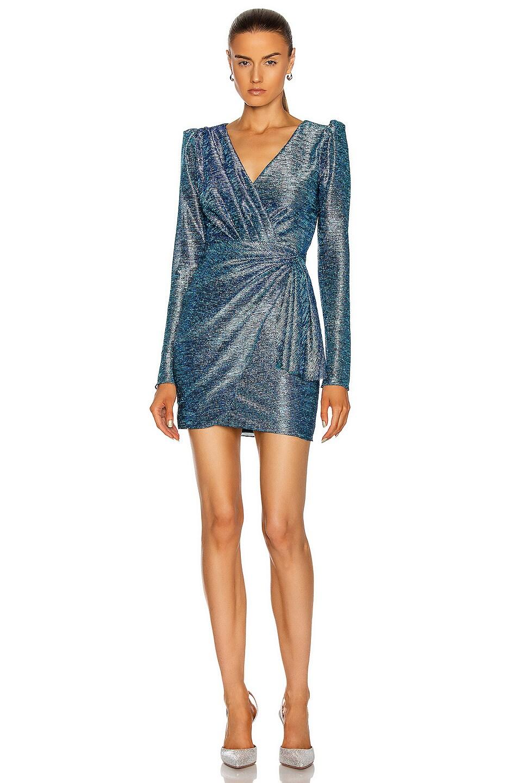 Image 1 of PatBO Metallic Faux Wrap Mini Dress in Blue