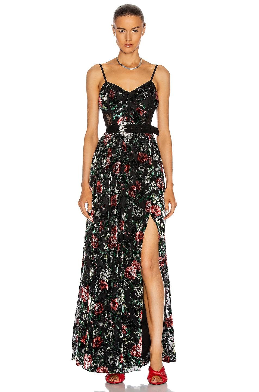 Image 1 of PatBO Floral Burnout Bustier Dress with Belt in Black
