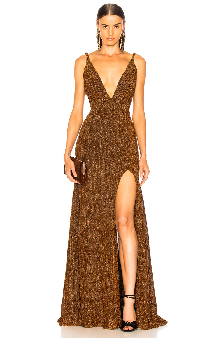 Image 1 of PatBO Pleated Lurex Gown in Copper