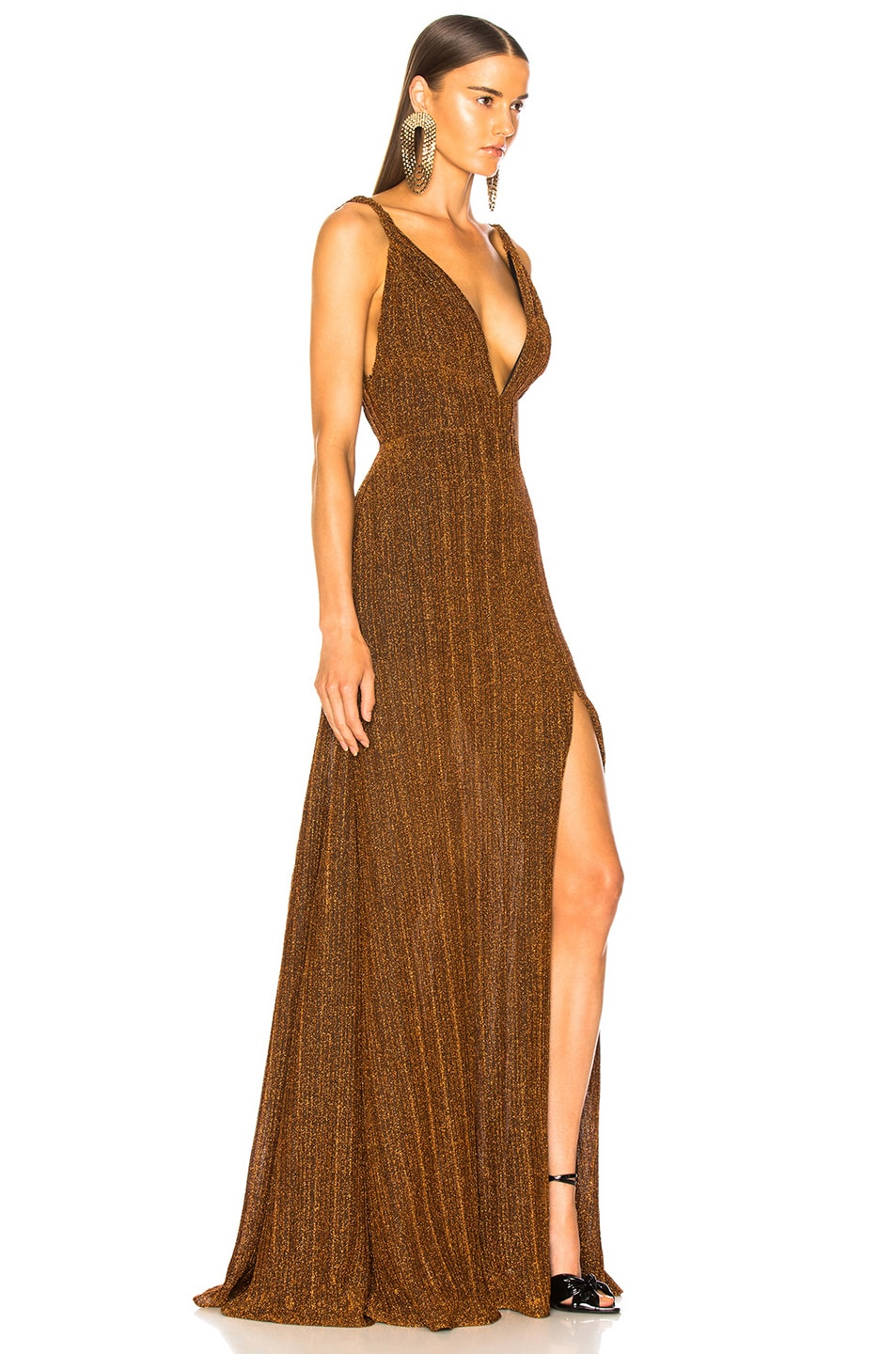 Image 2 of PatBO Pleated Lurex Gown in Copper