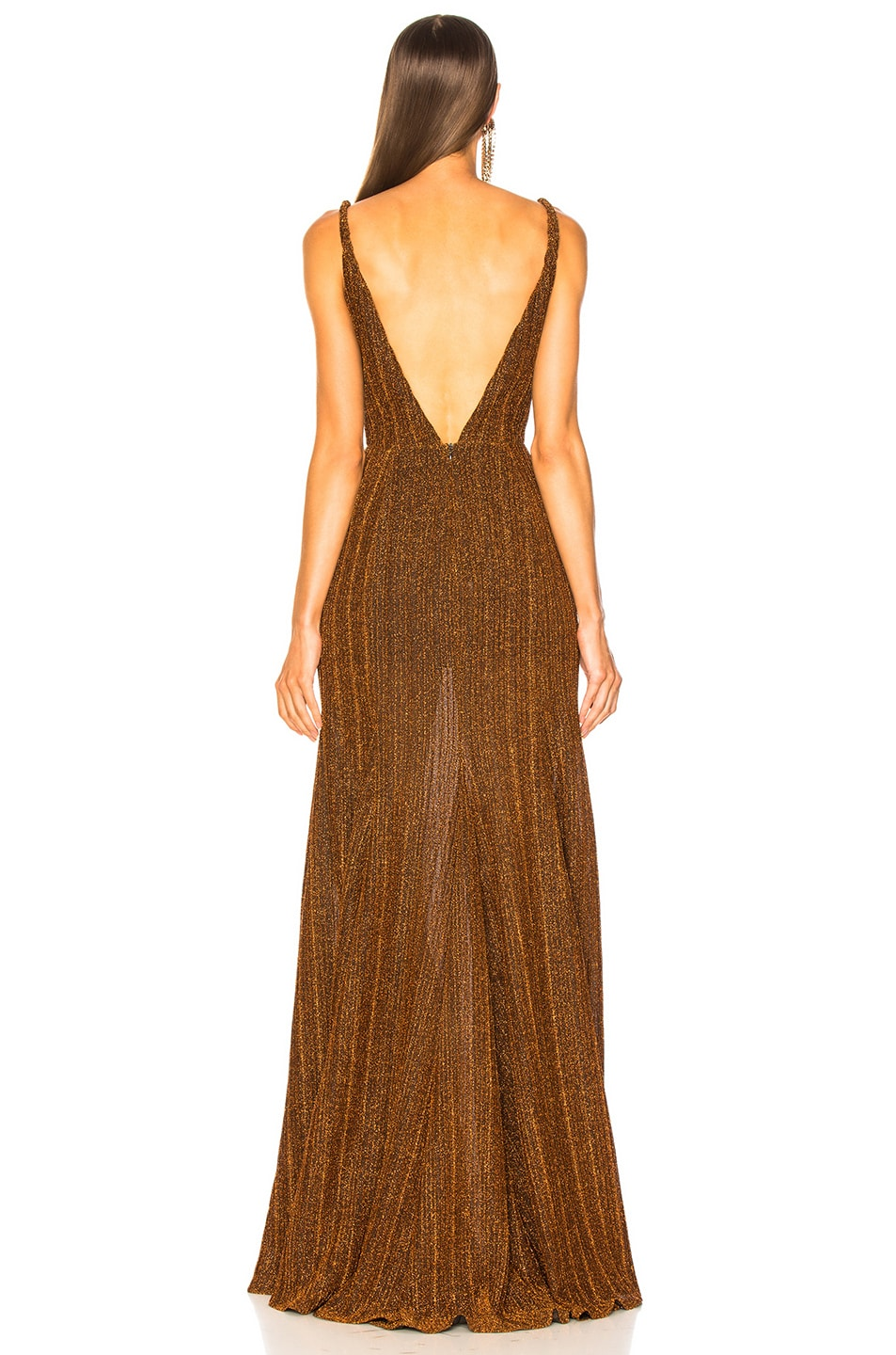 Image 4 of PatBO Pleated Lurex Gown in Copper