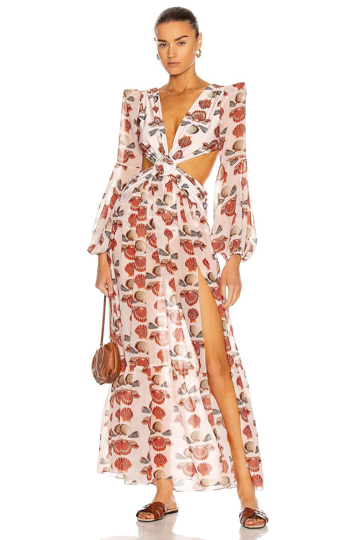 Image 1 of PatBO Seashell Long Sleeve Beach Dress in Cream