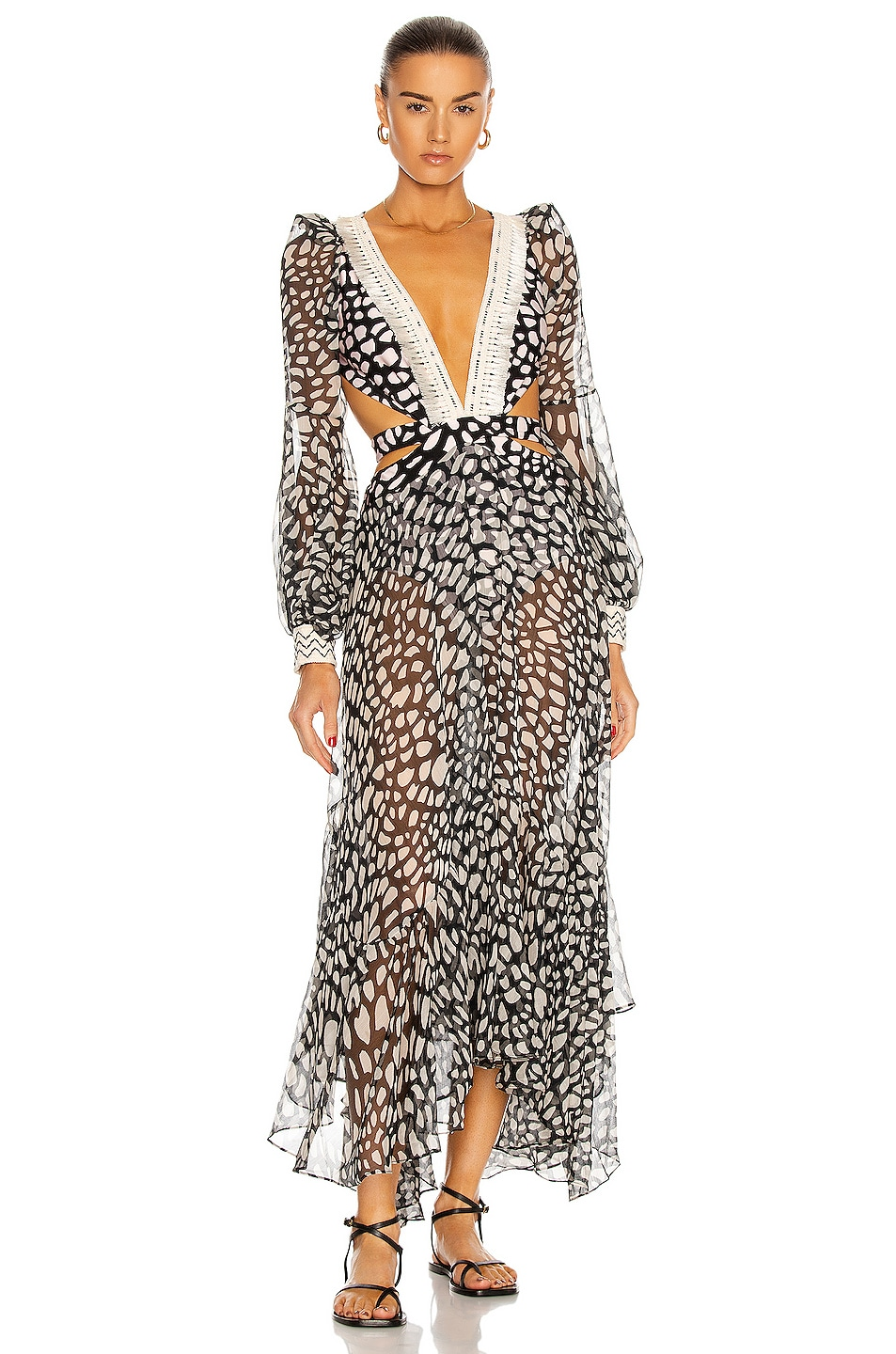 Image 1 of PatBO Spotted Fringe Beach Dress in Black & Cream