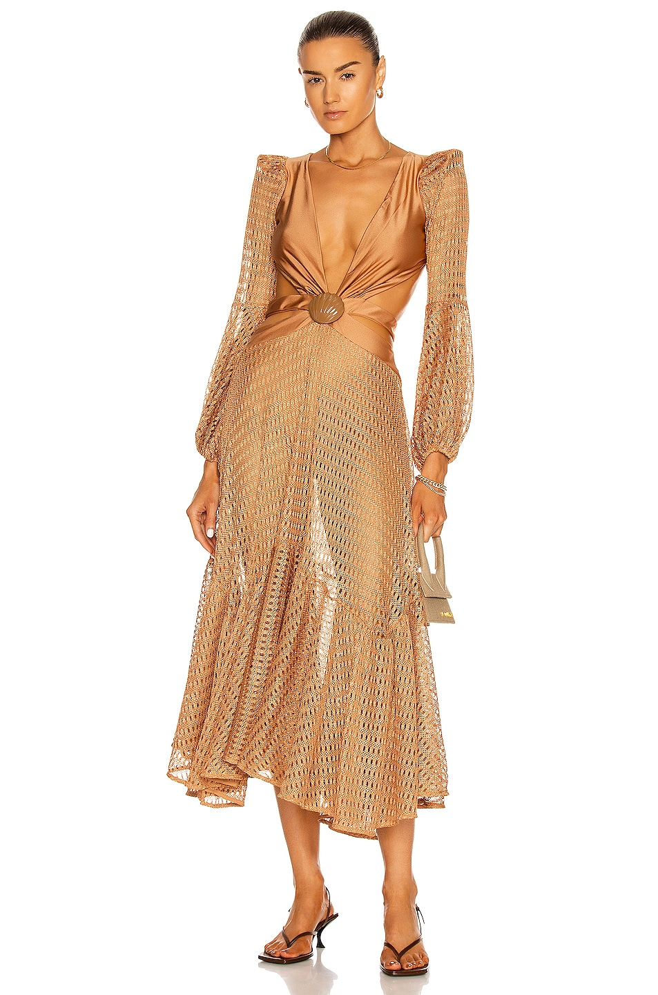 Image 1 of PatBO Cut-Out Netted Beach Dress in Almond