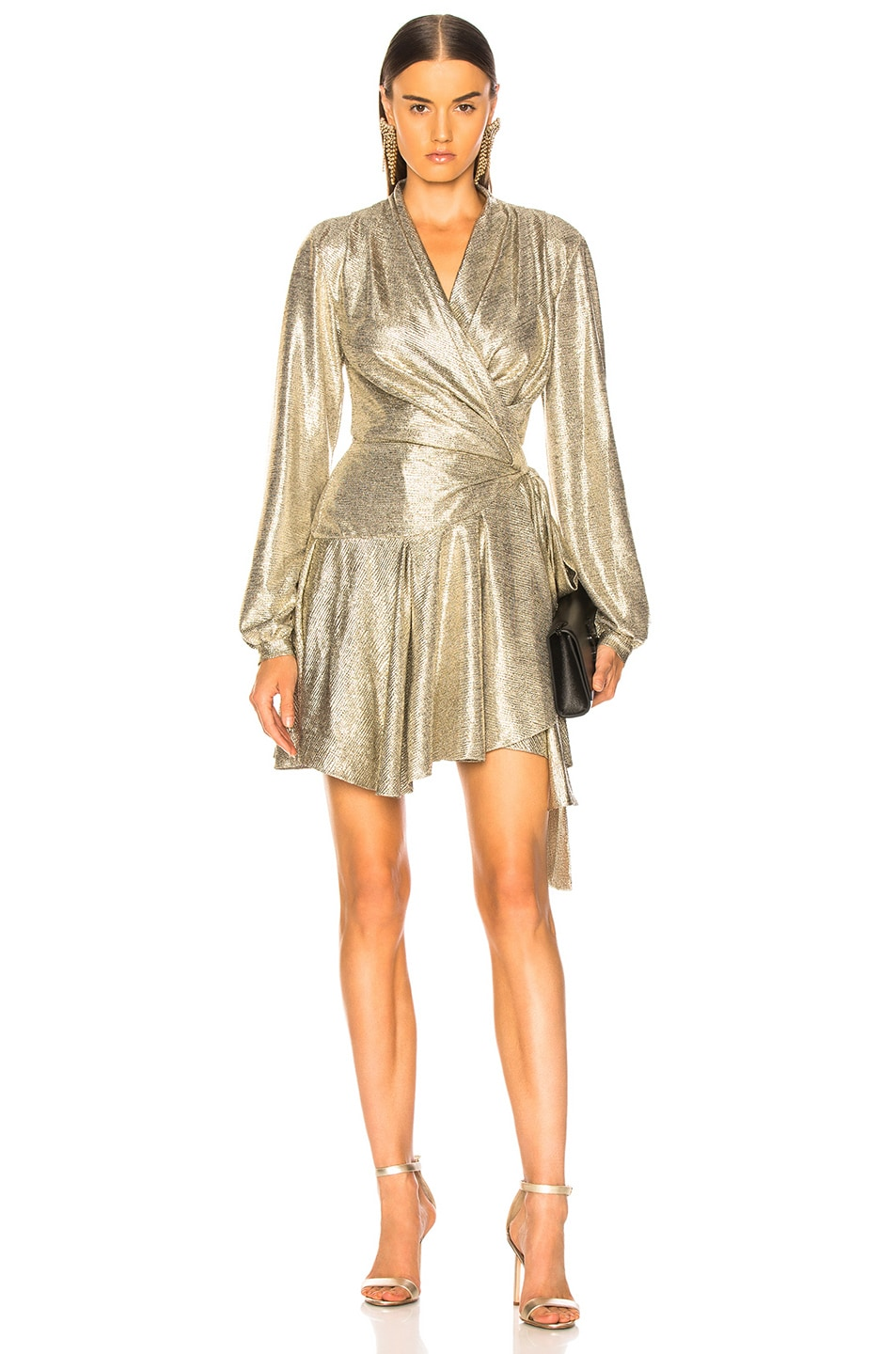 Image 1 of PatBo Cara Lame Mini Wrap Dress in Platino