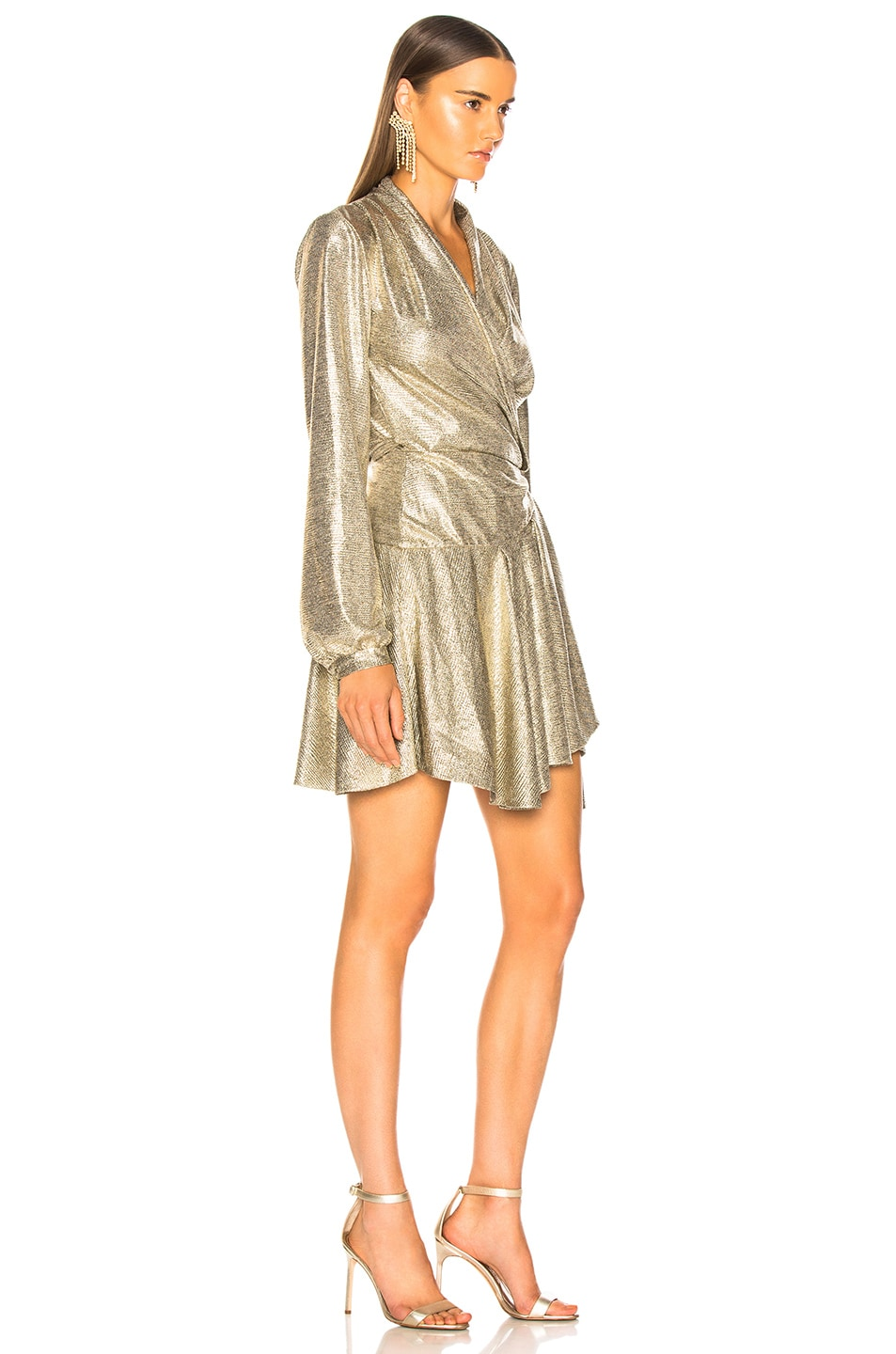 Image 2 of PatBo Cara Lame Mini Wrap Dress in Platino
